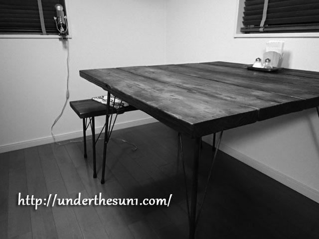 鉄脚と足場材を使ったダイニングテーブル2
